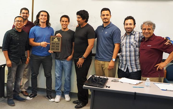 Four Ingenieros Founders with the winning team - Adrian Marquez, Luis Moreno, and Daryl Delgado