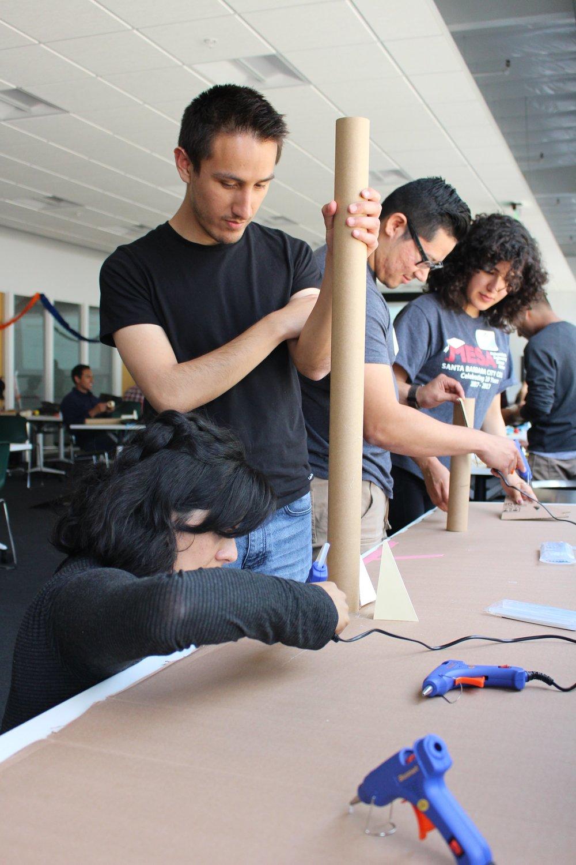 Students working on rocket 2018 FIF EC