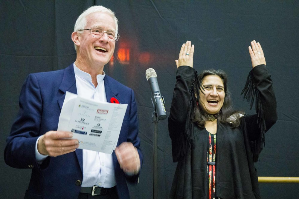 Adele Arseneau  receives the Don S. Williams grant from District of North Vancouver Mayor Richard Walton.