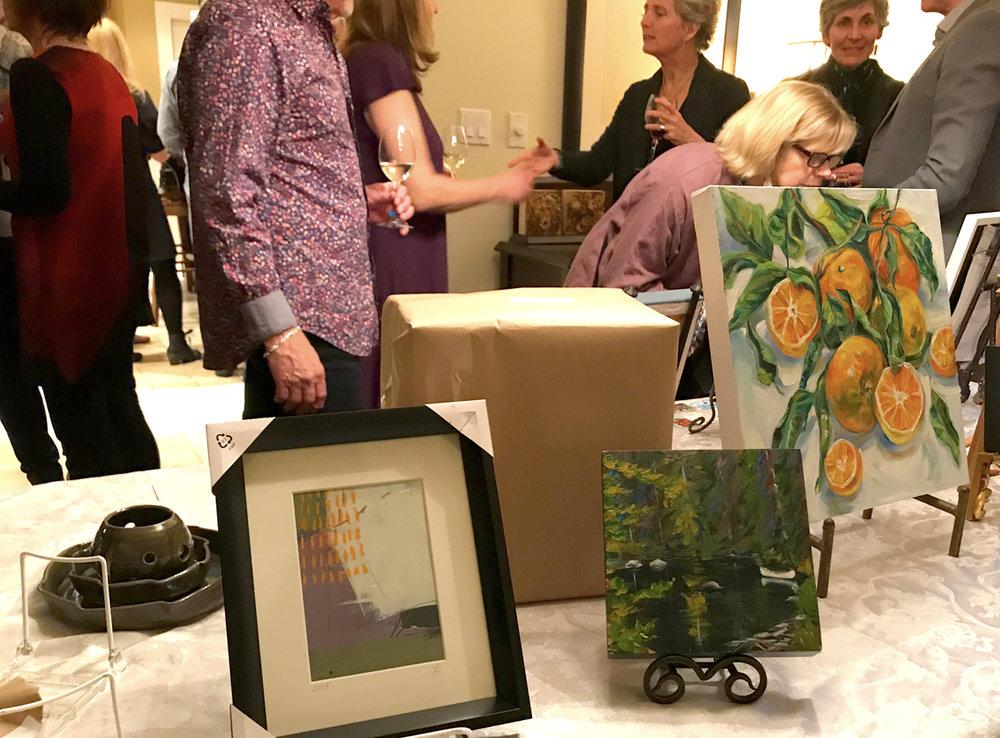 """""""Mystery Art"""" on display. Art donated by Janice Beaudoin, Gwen Skutesky and Riitta Peroni,"""