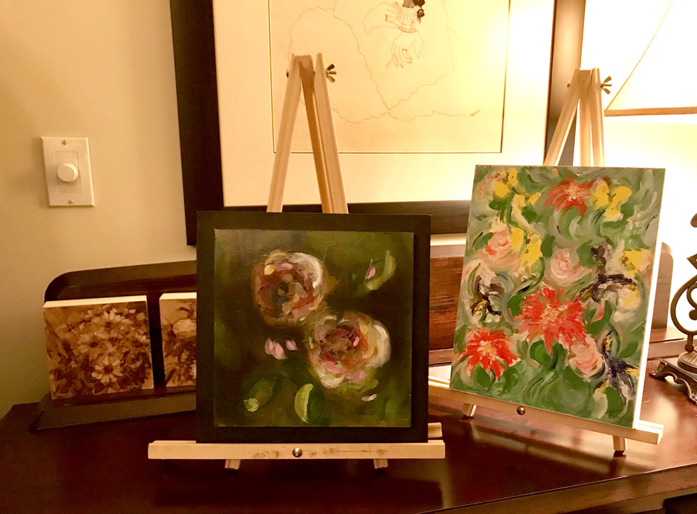 """Mystery Art"" on display by Maria Josenhans, Nicky Morgan and Tanya Vipond"