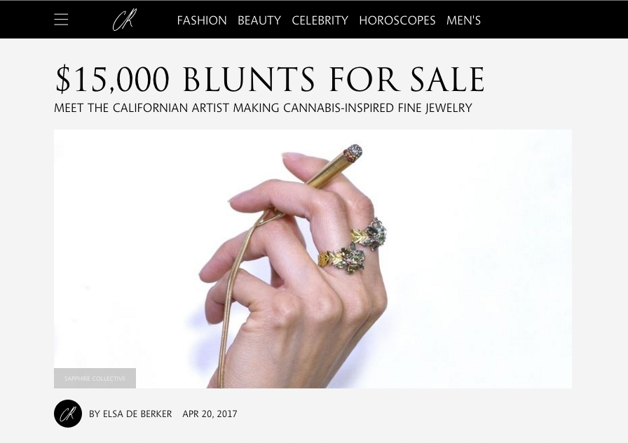 """CR FASHION 420 INTERVIEW OF SAPPHIRE """"$15,000 Blunts for Sale - Meet the California Artist Making Cannabis-Inspired Fine Jewelry"""" Model: Sapphire Styled by: Sapphire Fashion Editor: Ben Perriera Interview & Article by: Elsa De Berker Photographed by: Torrey James & Vic Bradford"""
