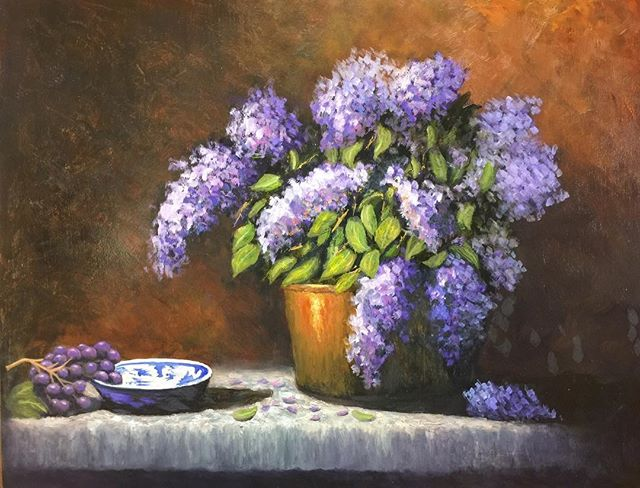 #lilacs #painting #oilpaintings #copperpot #flowers #stillifepainting #garycooley #collectiongallery