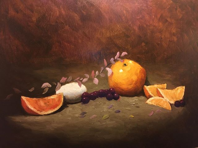 Just finished this #stilllife it's 16x20. Was fun to paint. #oranges #fineart #grapes #eggs