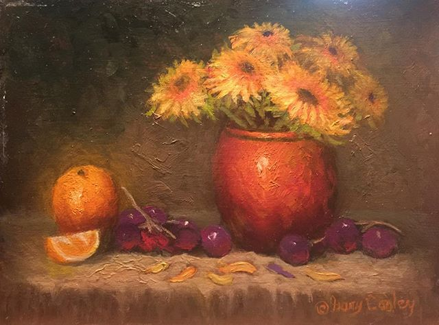 Just finished these #sunflowers #copperpot #oranges #grapes #oilpainting #fineart Lots of fun 6x8