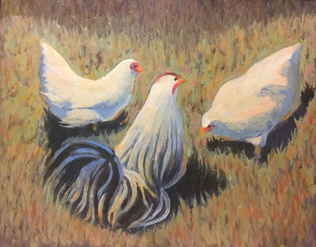 Just finished this painting of some chickens. It's 8x10. #chickens #oilpainting #farmhousedecor