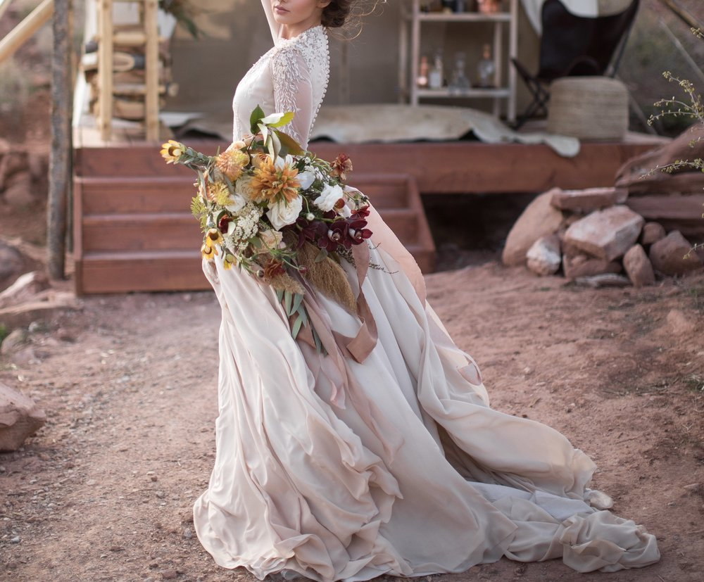 photo by  Tyler Ry e, Bouquet by  By Bloomers , Styling by  Forever More Events . RIBBON USED:  3 Yards of 2.5 inch Bronze Original ,  3 yards of 4 inch Rose Gauze ,  3 yards of 2.5 inch Rose Original
