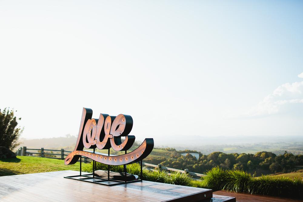 illuminated LOVE sign