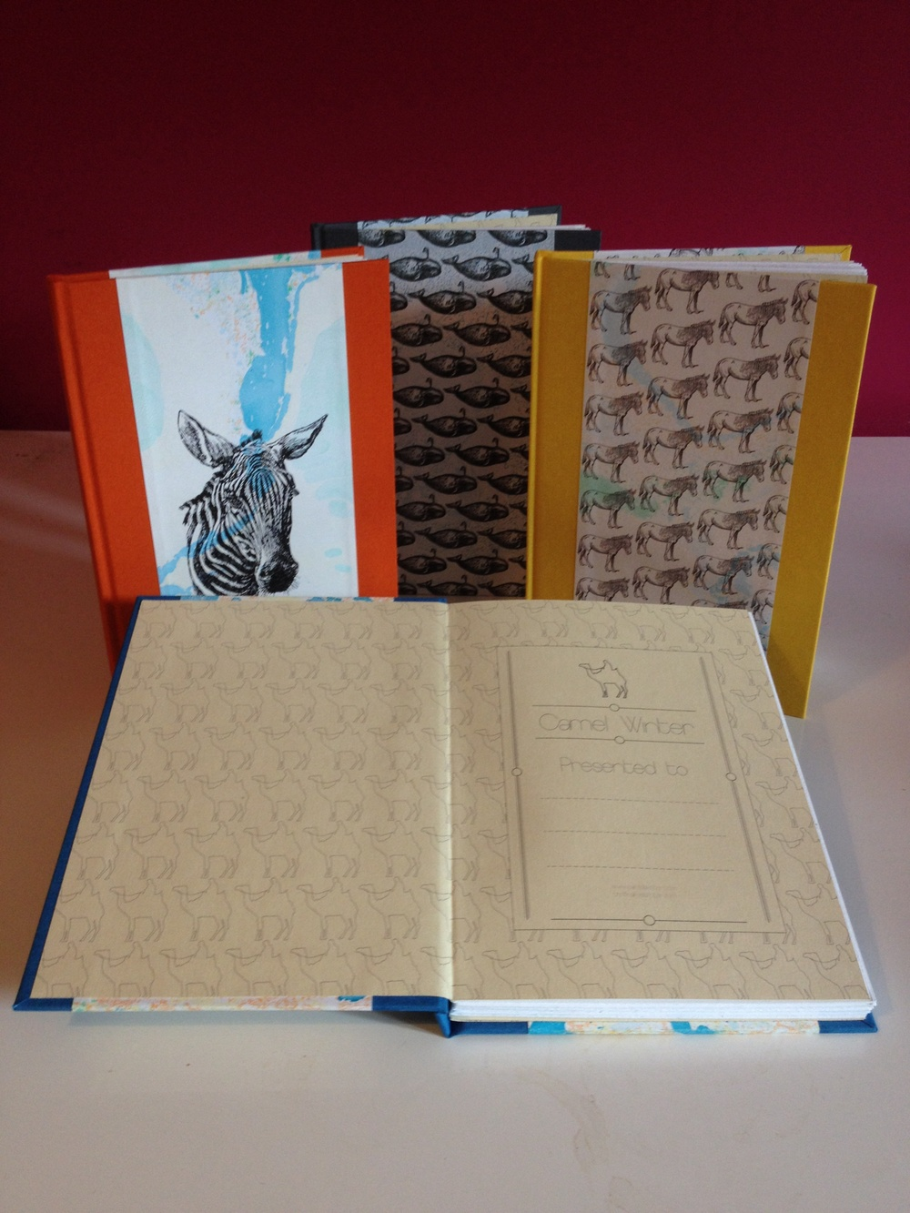 4 Camel Winter Flat Back Notebooks finished and ready for their new homes.