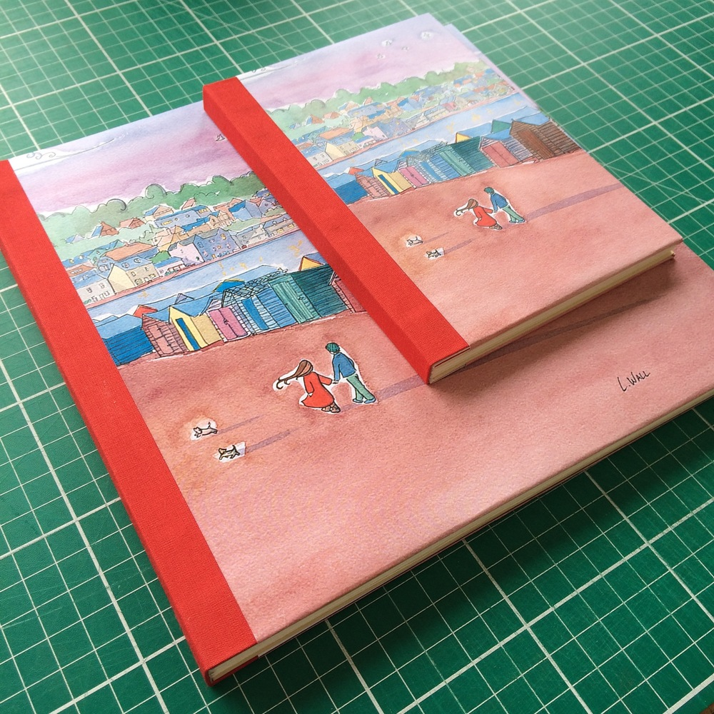 Two Completed sewn boards bindings.