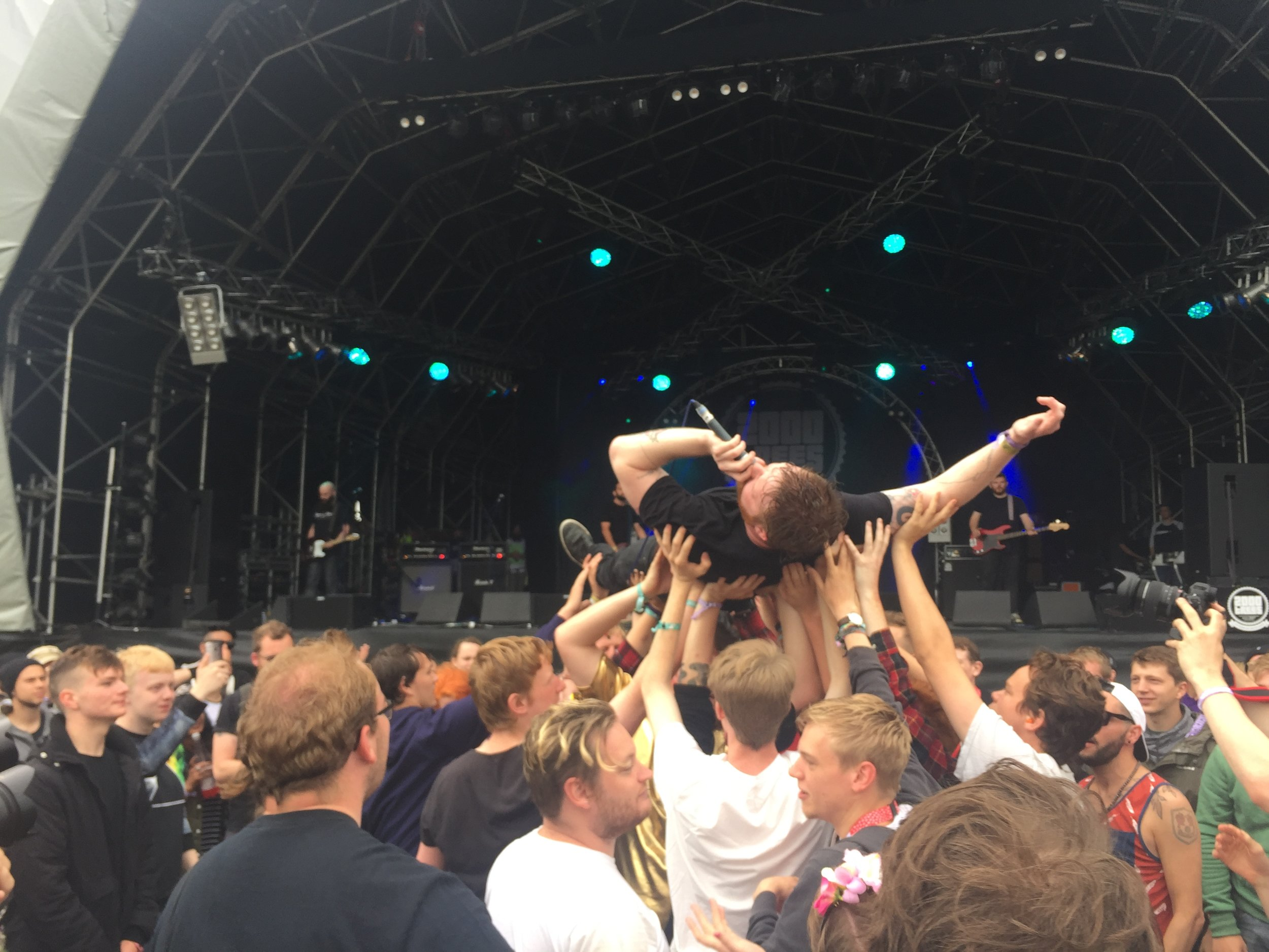Damien from The St Pierre Snake Invasion crowdsurfs on the Main Stage on Saturday