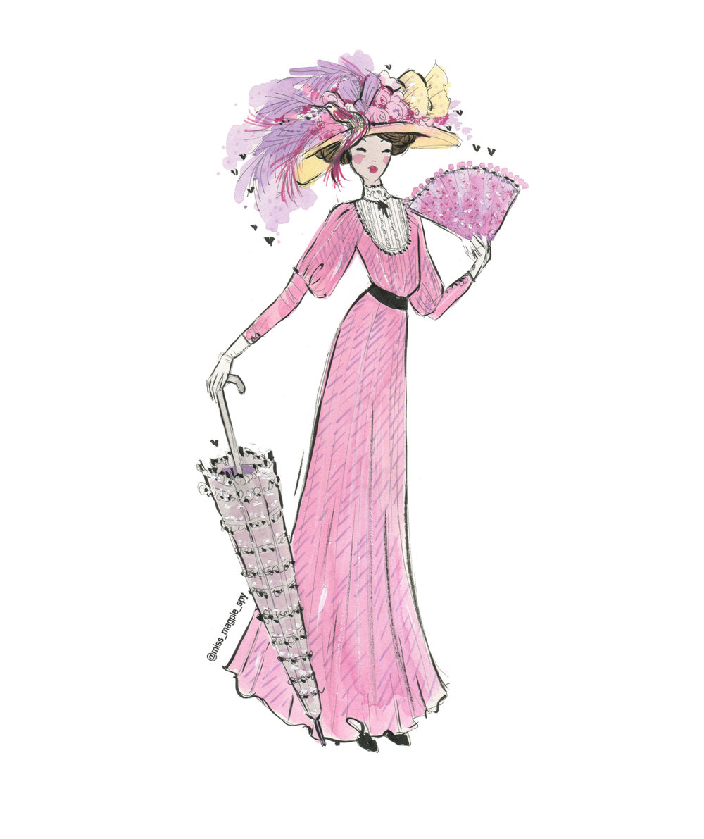 My illustration of woman wearing an S bend corset, huge hat and parasol from circa 1900