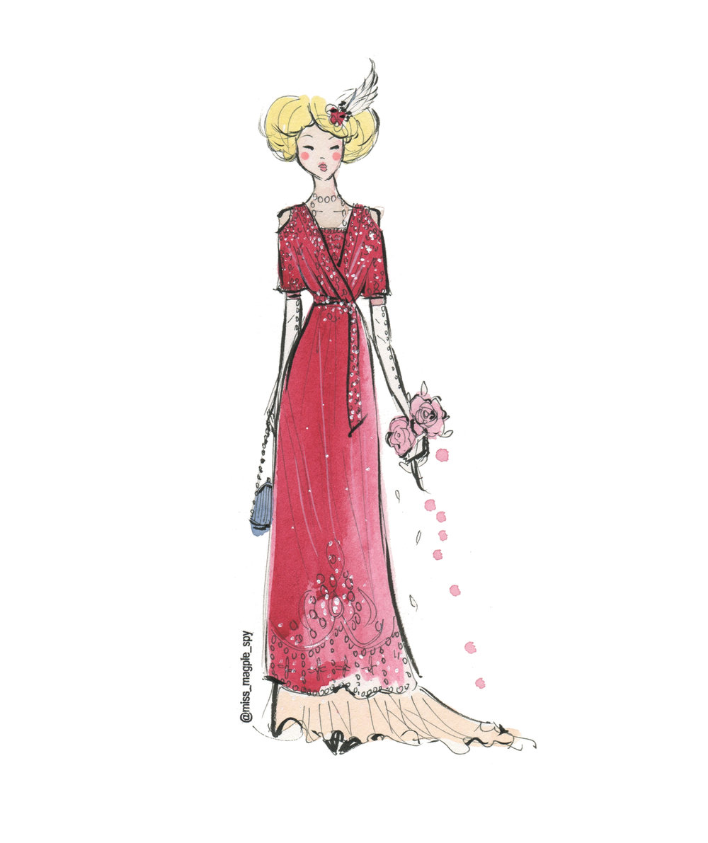 My illustration of a beautiful beaded dress from around 1910. Wow....people really did dress for dinner!