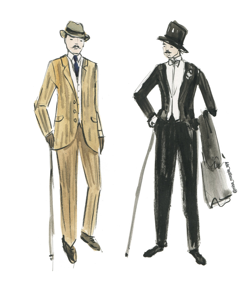 An illustration of how men dressed on board a passenger ferry in 1900-1920