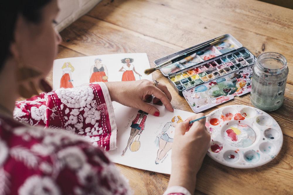 miss magpie kimono illustration