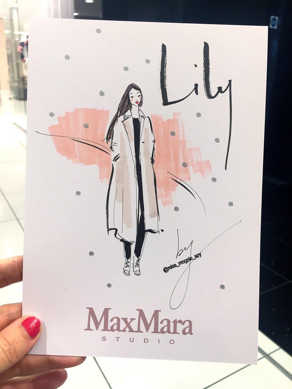 A recent 8 minute illustration at a MaxMara event