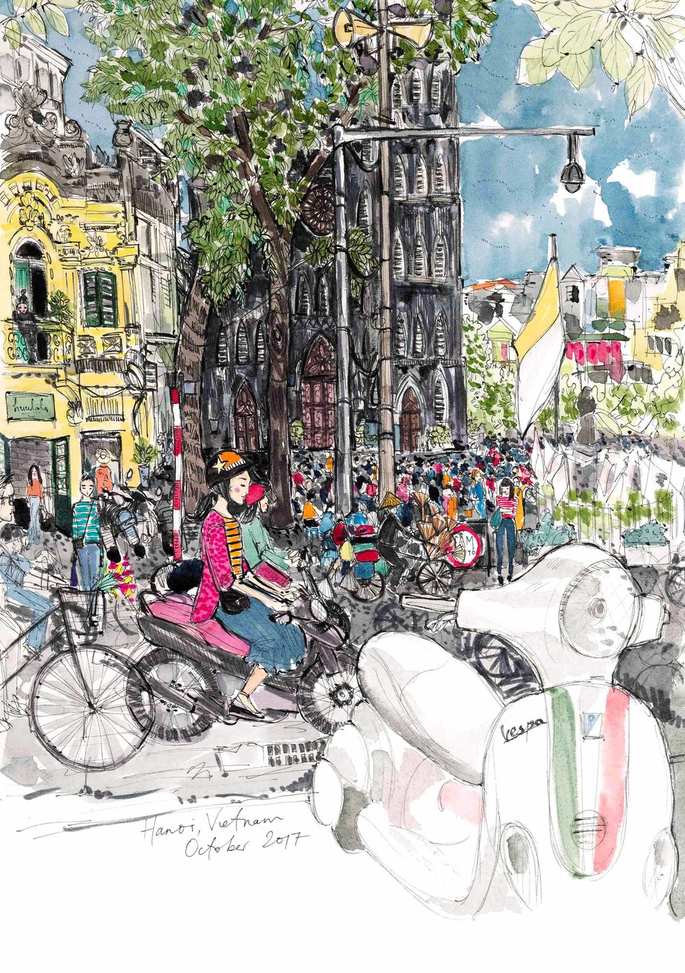 This illustration is available to buy  here . I created it over a period of 3 days from the tiniest seat you have ever seen, at Cong Caphe near St Joseph's Cathedral in central Hanoi.