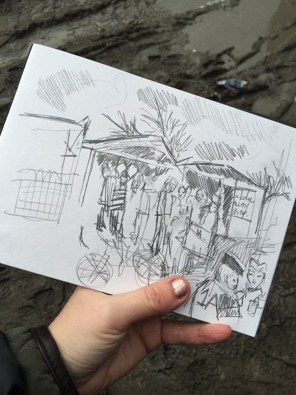 "Sketched in ""The Jungle"" Calais, whilst volunteering with Help Refugees in 2016"