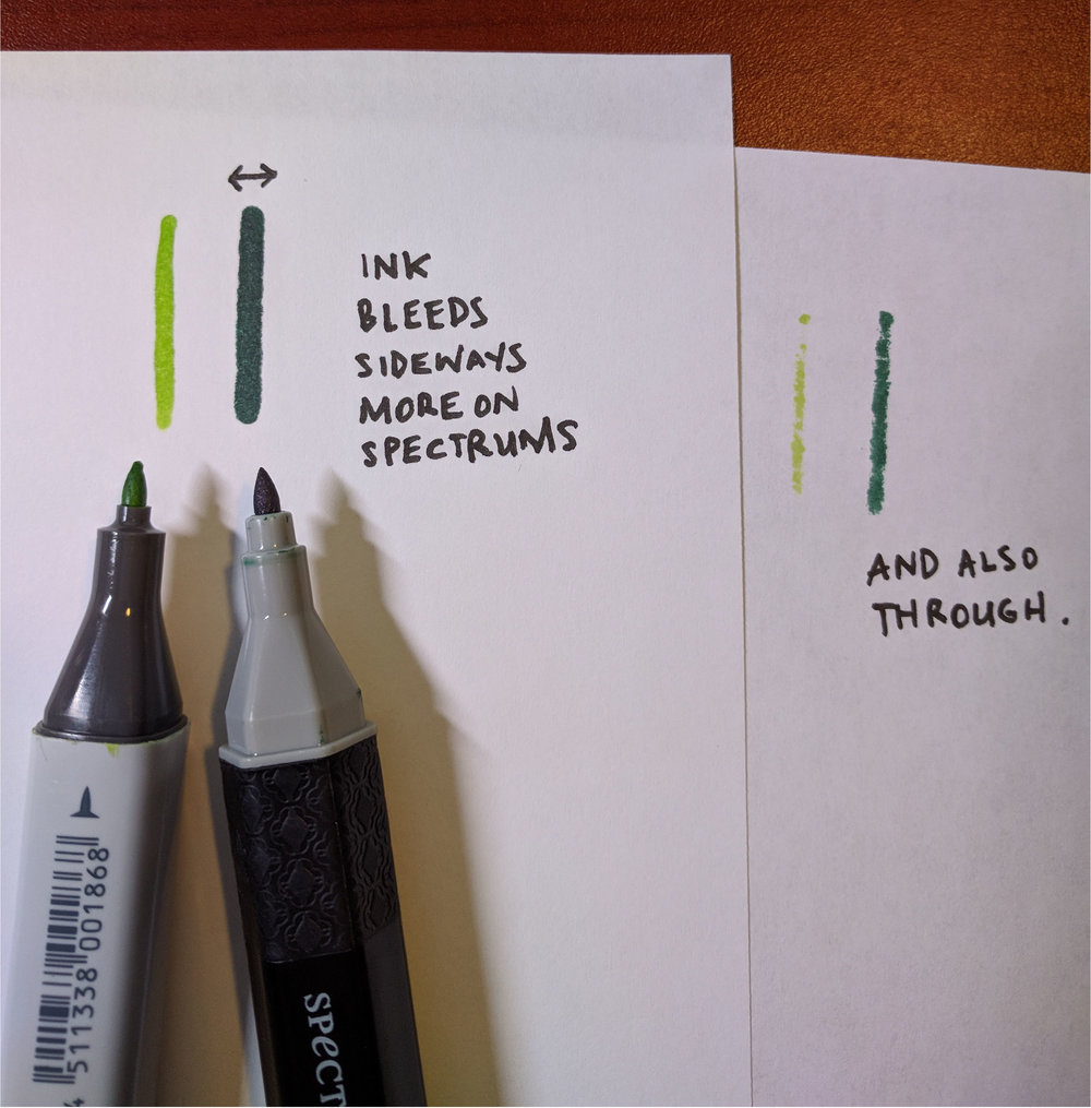 Both fine point nibs and lines were drawn with same pressure and speed