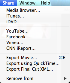 Direct share options from iMovie