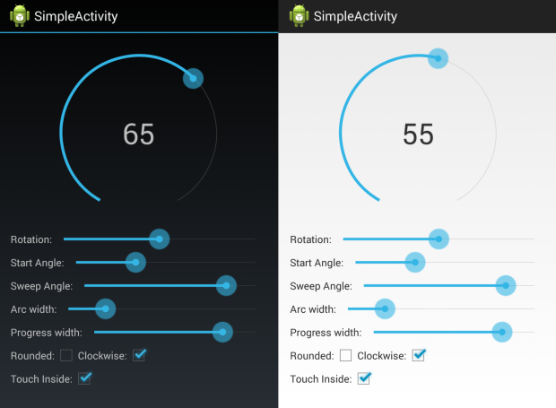 Screen shots of sample app.