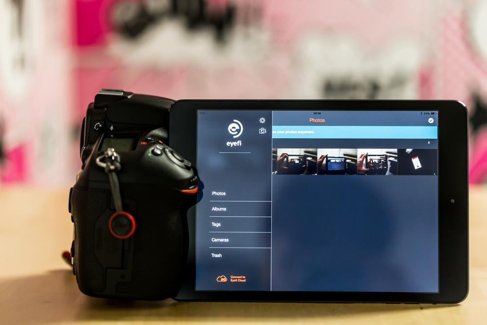 Eyefi app displayed on iPad with Nikon DSLR.