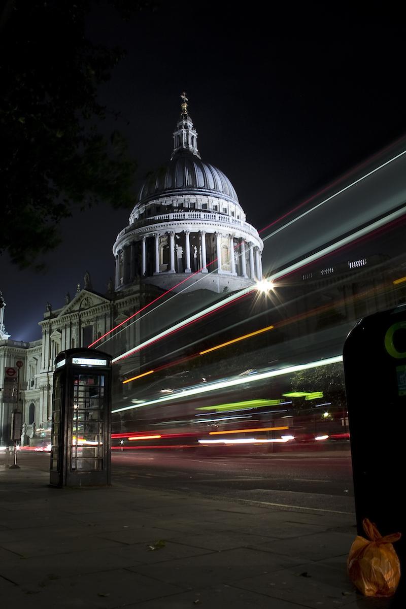 Long exposure shot of car light trails outside St Paul's in London, taken by Sam Hood using Triggertrap Mobile.
