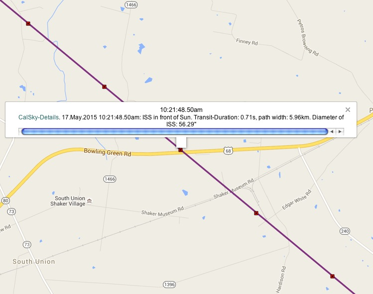 Image from CalSky website showing destination of ISS transit.