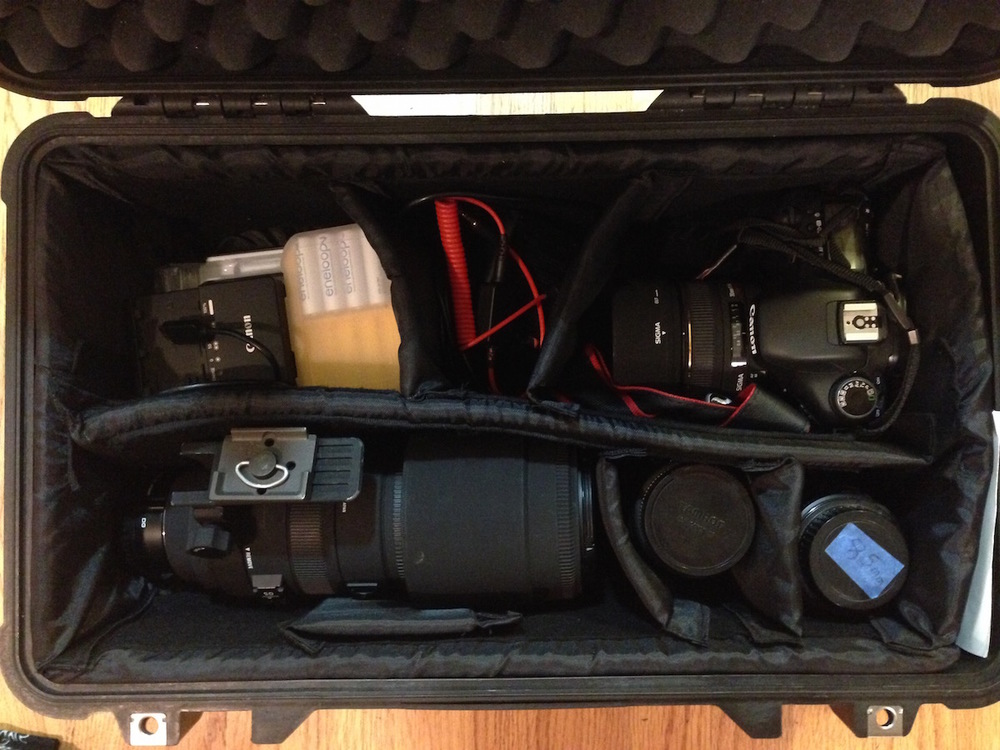 Image of Aaron's packed Peli case with gear for ISS shot including Triggertrap Mobile.