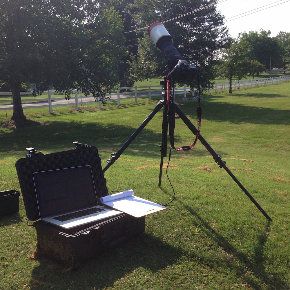 Photography set up for photographing the International Space Station with Triggertrap Mobile.