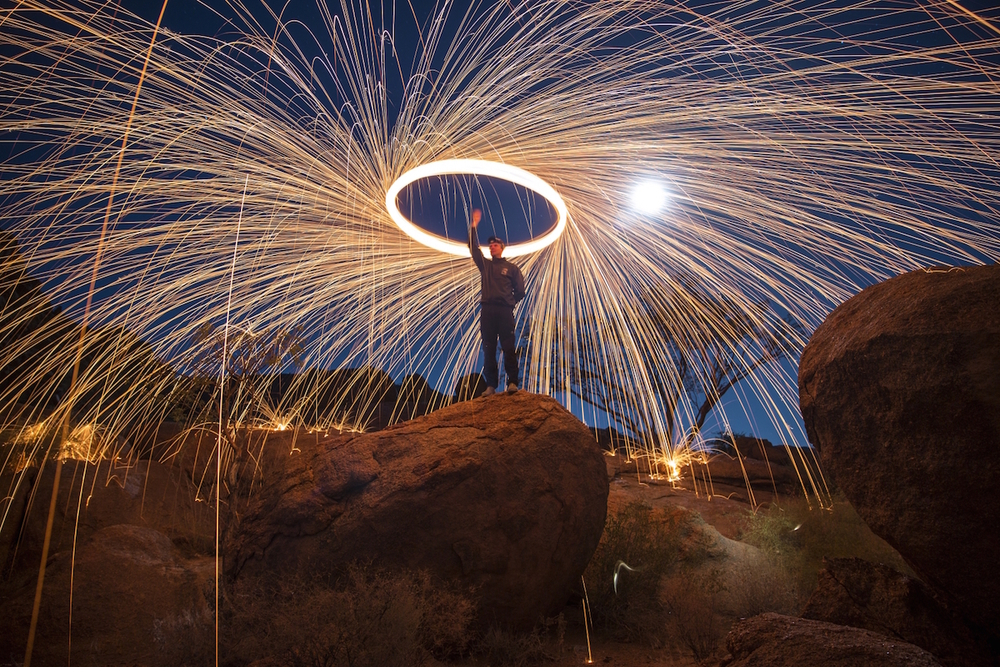 Wire wool spinning using Triggertrap Mobile. Photo by Calvin Munhuweyi.