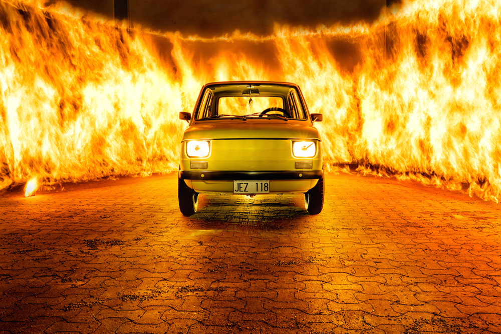 Fiat 600 wrapped in fire shot by Max Gennel using Triggertrap Mobile.