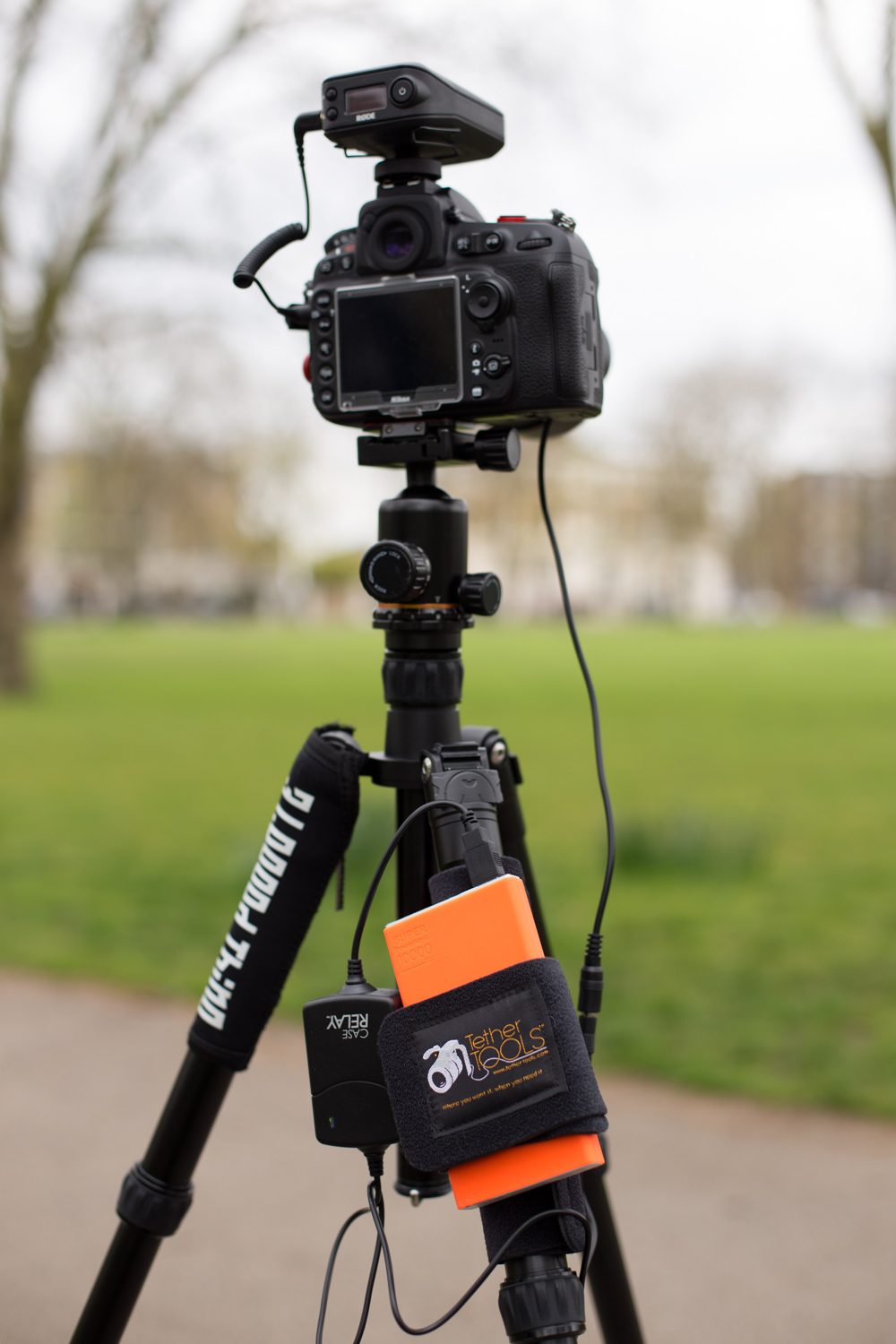 The Tether Tools Case Relay powering up our camera for a video shoot!