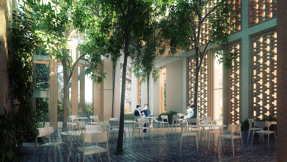 A semi-enclosed courtyard is the cozy backside of a cafe facing both the lively public axis and the mystic green enviroment on the island