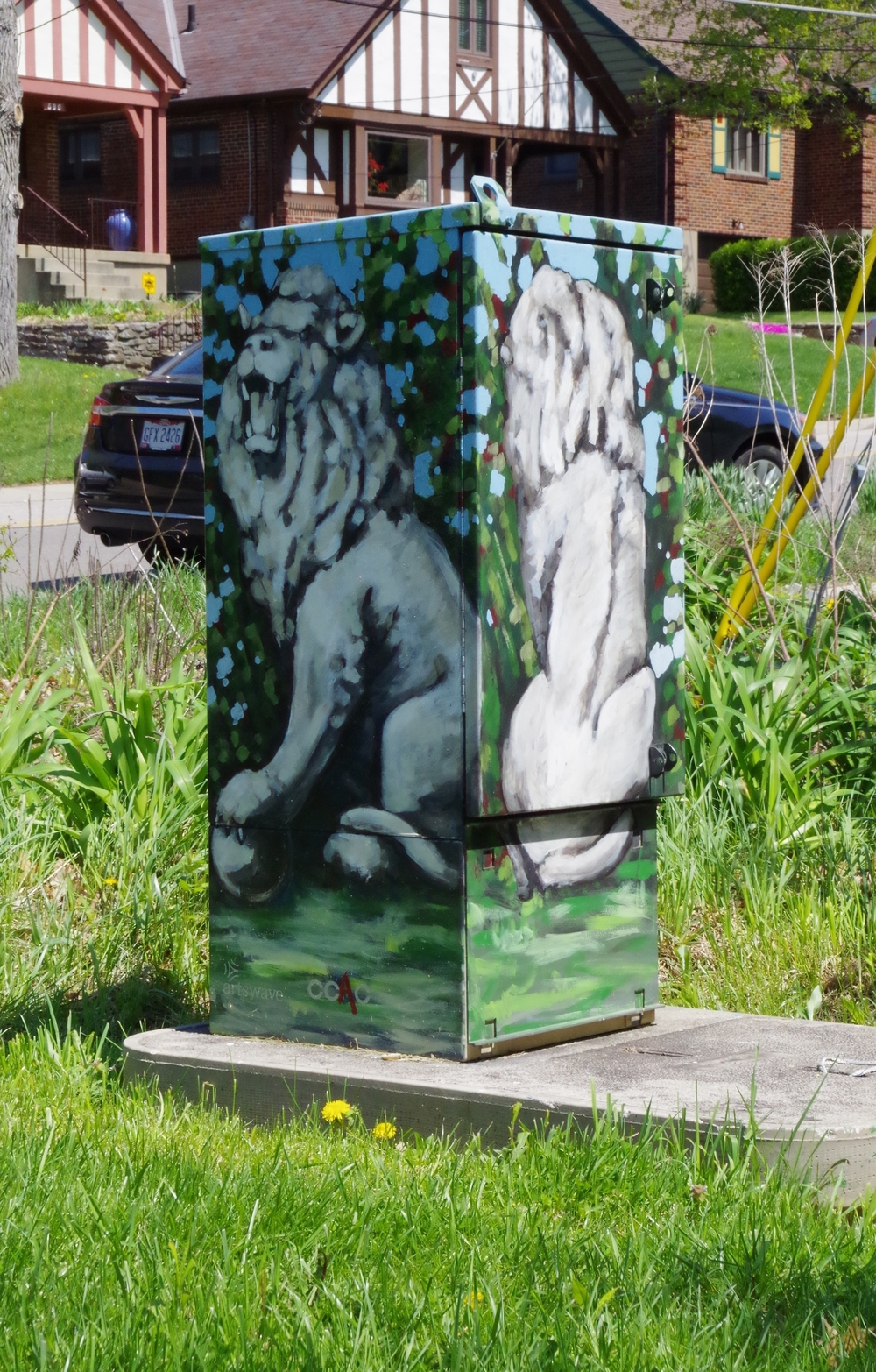 Cincinnati Bell utility box painting Clifton, Cincinnati, Ohio, 2014