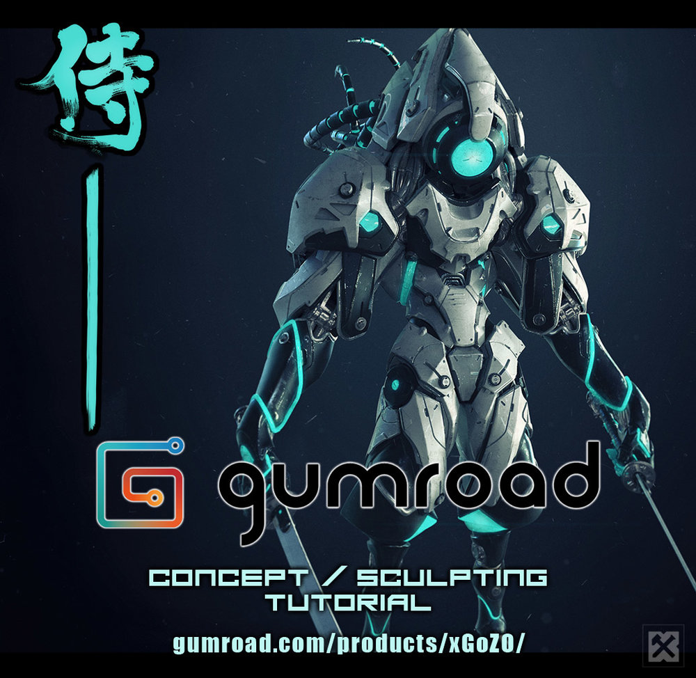 Mecha Samurai Concept / Sculpting Tutorial - Gumroad