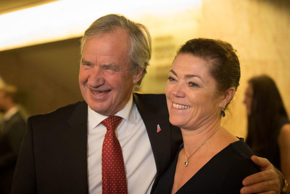 Bjørn Kjos, owner of the airline Norwegian, and Kristin Skogen Lund