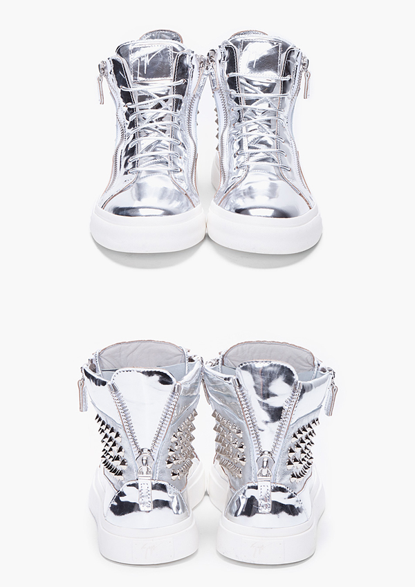 timvogue :      Guiseppe Zanotti S/S 2012 Spiked Metallic Sneakers    Gorgeous pair of sneakers! Metallic x Spikes = Win!