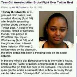 myambitionzasablogger :     Teen Girl Arrested After Brutal Fight Over Twitter Beef || KARMA || And for those that missed this… Link to the fight:   http://tinyurl.com/7r23gle