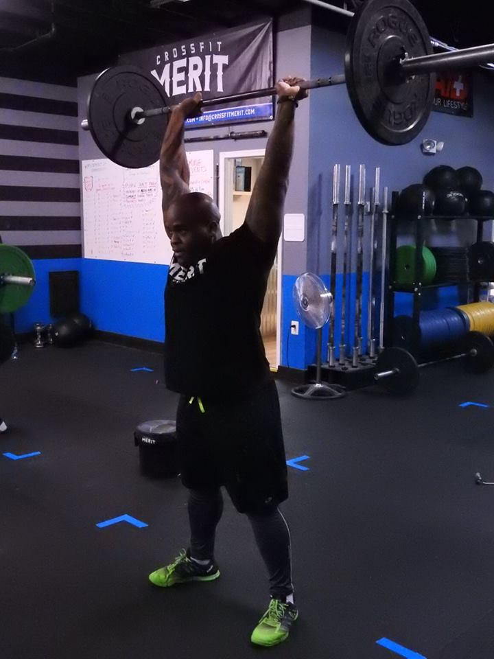 Sherwin during a thruster (his favorite CrossFit movement).