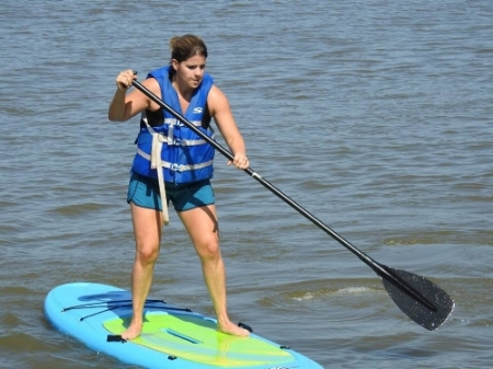 Stephanie during the Paddleboard WOD.