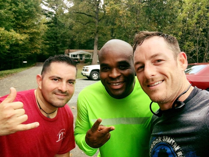 Rudy with two other Merit members, Sherwin and David, after a trail run.