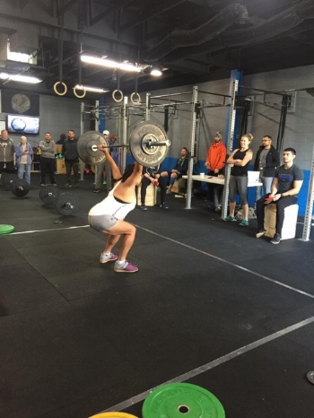 Grace snatching during the Merit barbell lift off.