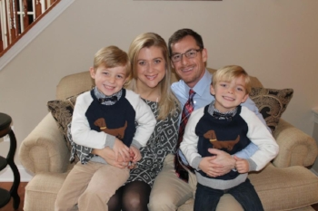 David and his wife Becky with their twin boys Drew and Dylan.