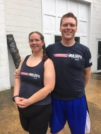 "Erin and Steve after completing Memorial Day ""Murph."""