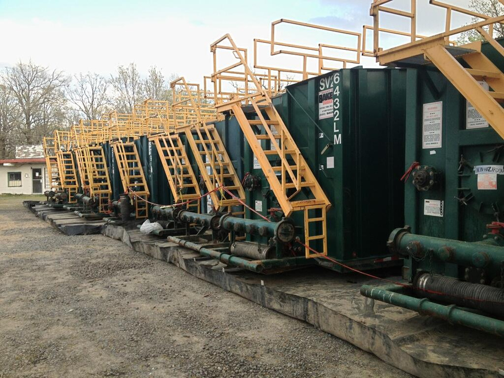 Fracking waste storage containers.