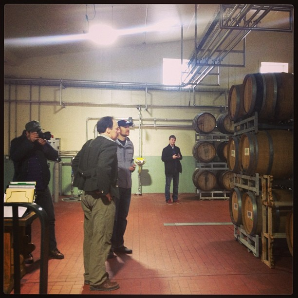 Sincere gratitude to @goodbeerhunting who let @patfahey and me tag along yesterday for a chat with the venerable Dan Carey and first look at the #NewGlarus sour cave. #openfermentation #brettanomyces #smellslikeheaven