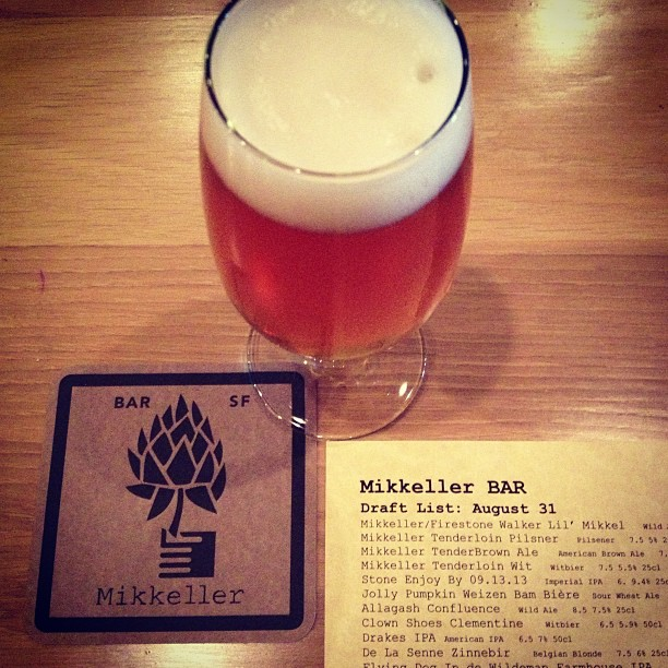 Oh look, I stumbled off of CalTrain and straight into heaven. And heaven serves very fruity, bitter pilsener. #mikkellerbar #mikkellertenderloinpilsner #sfbeer #craftbeer (at Mikkeller Bar)