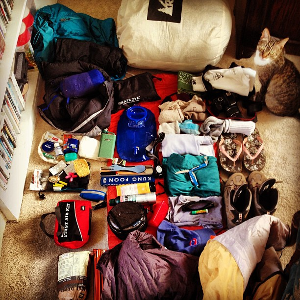 NO CAT LEFT BEHIND. Final gear check. To the mountains! #johnmuirtrail #backpacking #backpackingandmountaineering #gearjunkie