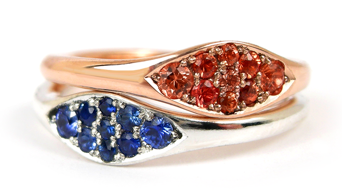 Stacked with  Rose Gold Orange Sapphire Flow of life ring.